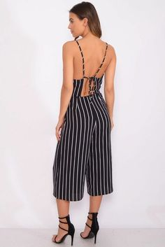 632a57c7800c Rare London Black Strappy Stripe Jumpsuit Size Small UK 8 rrp 35 DH088 OO  01