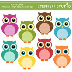 INSTANT DOWNLOAD - Cute Owls Clip Art Set - Personal and Commercial Use. $4.00…