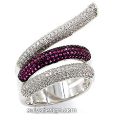 ZDR2141WR STERLING SILVER 925 RHODIUM PLATED RUBY COLOR CZ RING