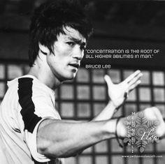 "A #quote from #BruceLee ""#Concentration is the root of all higher #abilities in man."" #focus #mentalState #balance #motivation #determination #Flow #FlowState #ProfessionalAthletes #EliteFlow #EliteAthlete #EliteAthletesTraining #EliteStateofMind #Sports"