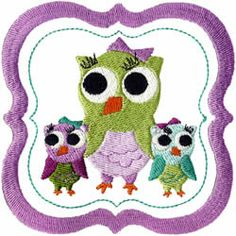 Owl Trio Embroidery Design