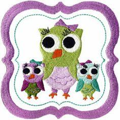 Owl Trio Embroidery Design