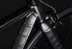 handcrafted fixed gear bike by WLWC is wrapped in black crocodile skin
