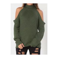 Rotita High Neck Cold Shoulder Army Green Sweater (210 DKK) ❤ liked on Polyvore featuring tops, sweaters, green, cut out shoulder sweater, green top, pullover sweater, long sleeve sweaters and collared sweater