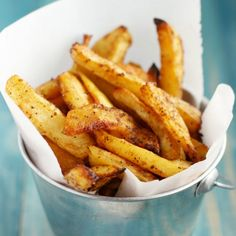 Crispy, tender, seasoned, DELICIOUS oven roasted french fries.