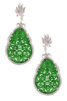 Amazing.  Angelique de Paris  Carved Jade Drop Earrings with CZ Accents