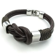 """Leather Stainless Steel Bracelet-Infinity Cuff Bangle (Brown/Silver)-Unisex.  Width is: 8mm (0.3"""") and Length: 8.5"""" (21.6cm). Material is: Stainless Steel and Leather."""