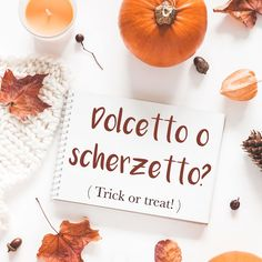 Frase della settimana / Phrase of the week: Dolcetto o scherzetto? (Trick or treat!) Find out more about this phrase and hear the pronunciation by visiting our website! #italian #italiano #italianlanguage #italianlessons Italian Phrases, Italian Words, Halloween Words, Happy Halloween, Word Of The Day, S Word, Italian Lessons, Scary Decorations, Study Tips