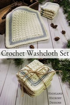Sampler Spa Cloths - Highland Hickory Designs - Free Crochet Pattern Crochet the Sampler Spa Cloths with a free and easy pattern. Three different cloths use the Trinity, Suzette and Silt stitch to make a set. Great for gifts! Crochet Simple, Free Crochet, Double Crochet, Yarn Projects, Crochet Projects, Do It Yourself Upcycling, Spa Outfit, Knitting Patterns, Crochet Patterns