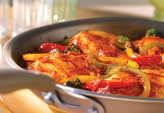 Italian-Style Chicken & Pepper Sauté  Sautéed chickenand colorful mixed peppers...you just know it's going to be delicious, and using jarred Italian sauce makes it easy and tasty!
