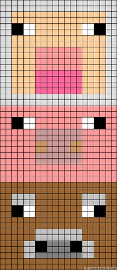Minecraft animals perler bead pattern