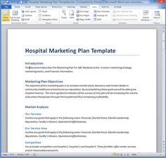 Hospital Marketing Plan Template Digital Strategy