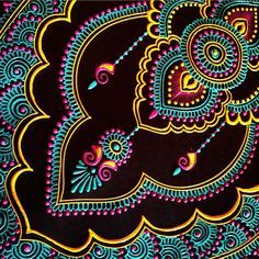 bright mandala henna design on black - I've gone off the deep end with color, I guess my surroundings are influencing… … Mandala Art, Mandala Painting, Mandala Design, Posca Art, Puffy Paint, Dot Art Painting, Motif Floral, Henna Art, Indian Art