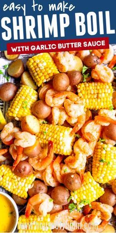 Shrimp boil. This quick and easy meal is full of flavor! Corn on the cob, potatoes, and jumbo shrimp all boiled in a flavorful broth and drenched in a garlic butter sauce. Seafood Boil Recipes, Seafood Dishes, Shrimp Recipes, Fish Recipes, Cajun Dishes, Pasta Recipes, Remoulade, Garlic Butter Sauce, Shrimp Butter Sauce