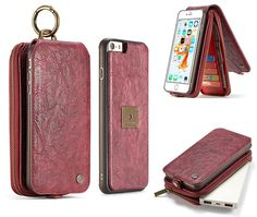 CaseMe iPhone 6S Plus/6 Plus Zipper Wallet Magnetic Detachable Flip Leather Case