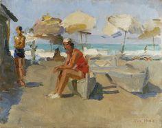 Isaac Israels, Lidostrand met parasols en catamaran, olie op doek 40,1 x 50,3 cm, gesigneerd en te dateren ca. 1927
