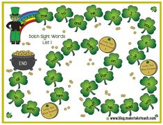 Fun little sight word FREEBIE for St. These game boards are great for centers! Dolch Sight Words, Sight Word Games, Sight Word Activities, Classroom Activities, St Patrick Day Activities, Spring Activities, Holiday Activities, Holiday Themes, Kindergarten Language Arts