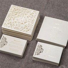 Laser cut wedding invitations by Calligraphywithstyle on Etsy