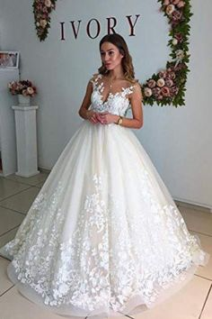 facb357f13 Ball Gown Lace Appliques Tulle Backless Cap Sleeve Wedding Dresses