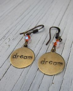 Dream Affirmation Earring Young Girls by SusanHeleneDesigns, $12.00