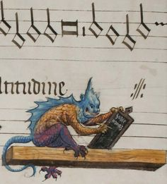 Devil who writes on the blackboard the words NONAM Hodie , a miniature taken from 'Songs for four voices for the major feasts of the liturgical' (1562), Library of the Abbey of St. Gall, Switzerland.