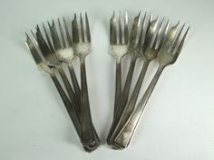 Vintage set of Shellfish forks. For sale at AlienVintage on Etsy.com.