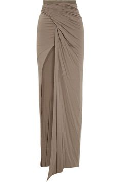 RICK OWENS LILIES  Draped stretch-jersey maxi skirt - Must Have Renegade cool & figure flattering!