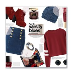 """Varsity Blues"" by jckallan ❤ liked on Polyvore featuring Balmain, Billabong, Ralph Lauren, Too Faced Cosmetics, By Terry, ABS by Allen Schwartz, Lizzy James and Whiteley"