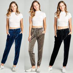 f54f91ce8377 Velvet Joggers Sweat Pants Gray Blue Black