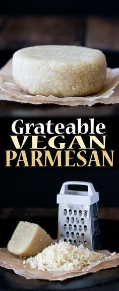 Grateable Vegan Parmesan Cheese - Recipes to Make - Vegan Cheese Recipes, Vegan Parmesan Cheese, Vegan Foods, Vegan Snacks, Vegan Dishes, Dairy Free Recipes, Raw Food Recipes, Vegetarian Recipes, Vegan Lunches