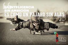 La inteligencia sin ambición es como un pájaro sin alas. ~Salvador Dali -
