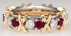 Tiffany & Co Schlumberger 16-Stone Diamond Ruby Ring Solid Platinum & 18K Gold