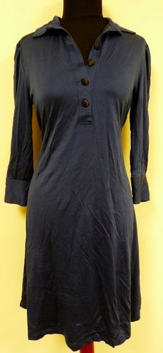 Cute soft figure flattering dark blue silk sleeved button dress by Sooth sz M