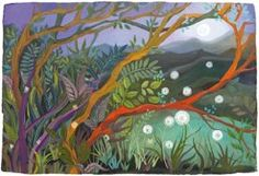 """Melissa Launay – """"Soft Cotton Night"""" Gouache on paper. It looks like twilight and I love the use of colors in this piece.The branches of the trees and vines are nice, too. Nocturne, Karla Gerard, Sweet Magic, Enchanted Wood, English Artists, Autumn Art, Naive Art, Tree Art, Art Images"""