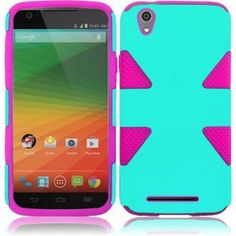 ZTE ZMAX Z970 Hard Cover and Silicone Protective Case - Hybrid Triangle Teal/ Hot Pink 1