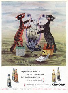 British magazine ad for Kia-Ora fruit drink (1951). Advertising agent: Erwin Wasey & Co. Ltd. Artists: Lewitt-Him.