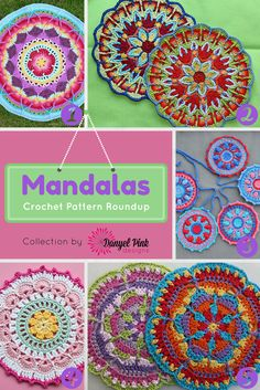 Danyel Pink Designs: 5 Crochet Patterns for Mandalas. Mandalas a crochet. Crochet Diy, Crochet Round, Love Crochet, Crochet Crafts, Crochet Projects, Crochet Doilies, Crochet Mandala Pattern, Crochet Circles, Crochet Squares