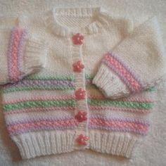 Daisy's Summer Baby Cardigan | Bluprint Baby Cardigan Knitting Pattern Free, Crochet Baby Jacket, Kids Knitting Patterns, Baby Sweater Patterns, Knit Baby Sweaters, Knitting For Kids, Baby Patterns, Knitted Baby Cardigan, Lace Cardigan