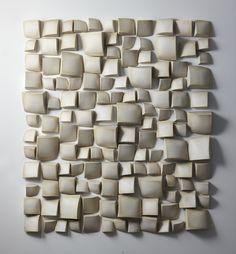 """Maren Kloppmann,  Wall pillow field deconstructed III, 2016. Ceramic, white textured glaze, Measures 66 H x 59."""""""
