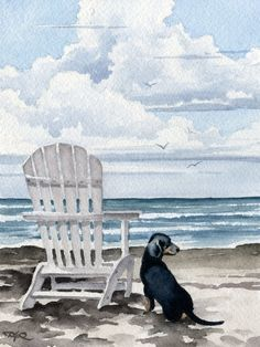 DACHSHUND At The Beach Original Watercolor by k9artgallery on Etsy, $200.00