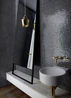 Style tiles, Eye-catching tiles tessellate to fabulous effect in these 10 spaces from the *Belle* archive. Black Tile Bathrooms, Modern Master Bathroom, White Bathroom, Small Bathroom, Bathroom Closet, Luxury Bathrooms, Minimalist Bathroom, Mosaic Bathroom, Diy Bathroom Decor