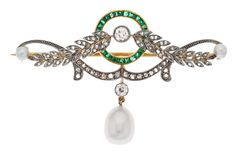 Edwardian Diamond, Emerald, Cultured Pearl, Platinum-Topped Gold Brooch