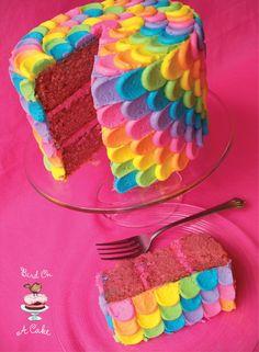 I want this cake for my next birthday.   Bird On A Cake: Rainbow Petal Cake
