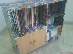 Inspiration -- might try some decoupage. Shelf Porn Redux | Arts and crafts with Theo from Greece   - Robot 6 @ Comic Book Resources