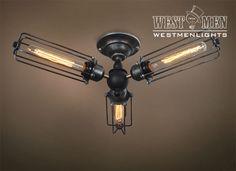 Westmenlights Kitchen Plug in Ceiling Lamp Vintage Makeover Cage 3 Lights Ceiling Light fixtures
