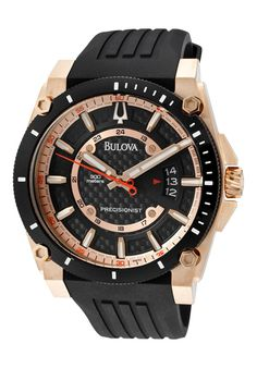 a53e653bc05 Bulova Men s Precisionist Black and Rose-Tone Ion-Plated Dial Black  Polyurethane w  Apple Gift Card Best Buy in 2015