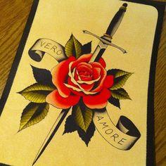 #maxbrain #traditional #tattoo #flash #rose #rosa #dagger #pugnale #true #love #truelove #veroamore @Isabel Murphy Buenavida