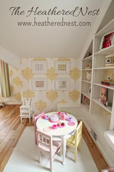 beautiful little girls' room with damask wallpaper and built-ins!