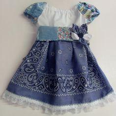 Little Girl Bandana Dress Baby Blue Bandana by CLASSYTHREADSBYCB, $35.00