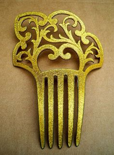 Art Deco Hair Comb Faux Goldstone With Glitter Inclusions